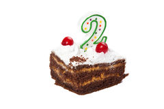 Birthday cake with one candles Royalty Free Stock Photos