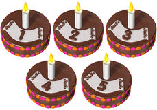 Birthday cake one to five Royalty Free Stock Image