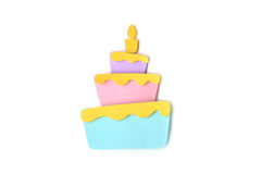 Birthday cake paper cut on white background Royalty Free Stock Photos