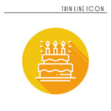 Birthday cake, pie with candles icon. Happy birthday. Party celebration birthday holidays event carnival festive. Line Stock Photo