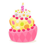 Birthday cake with pink candle and decorations. Stock Photo