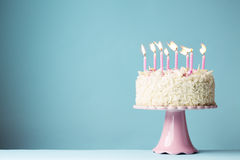 Birthday cake. With pink candles Royalty Free Stock Photo