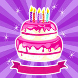 Birthday cake in pink Stock Image