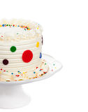 Birthday Cake. With polka dot fondant, buttercream icing and sprinkles isolated on white stock images