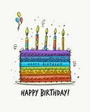 Birthday cake, postcard for your design Royalty Free Stock Photos