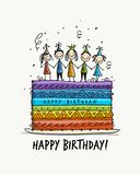 Birthday cake, postcard for your design Royalty Free Stock Images