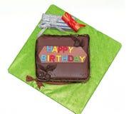 Birthday cake and presents stock photos