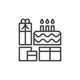 Birthday cake and presents line icon, outline vector sign. Linear style pictogram isolated on white. Symbol, logo illustration. Editable stroke. Pixel perfect Stock Photo