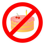 Birthday cake in prohibiting signs. Stock Photography