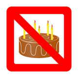 Birthday cake in prohibiting signs. Royalty Free Stock Images