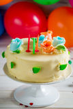 Birthday cake ready to light the candles Stock Images