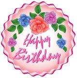 Birthday cake with roses Stock Photos