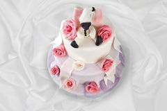 Birthday cake with roses on white Stock Photos