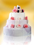 Birthday cake with roses on yellow Royalty Free Stock Photo