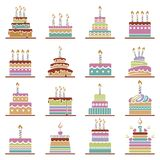 Birthday cake set. Collection of various colorful birthday cakes Stock Images