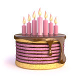 Birthday cake with seven candles. 3D. Render illustration isolated on white background Royalty Free Stock Image