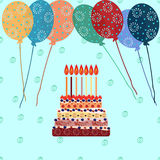 Birthday cake with seven candles. Seven years. A cake with candles for his birthday. Holidays and celebrations. Air balloon Stock Photo