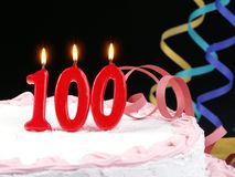 Birthday cake showing Nr. 100 Stock Image