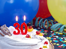 Birthday cake showing Nr. 30 Stock Photos
