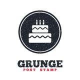 Birthday cake sign icon. Burning candles symbol. Royalty Free Stock Photography