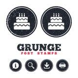 Birthday cake sign icon. Burning candles symbol. Royalty Free Stock Photo