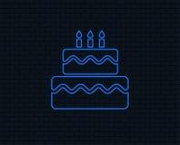 Birthday cake sign icon. Burning candles symbol. Neon light. Birthday cake sign icon. Cake with burning candles symbol. Glowing graphic design. Brick wall royalty free illustration