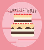 Birthday cake. A simple design of birthday cake with pink background stock illustration