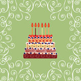 Birthday cake with six candles. Six years Royalty Free Stock Images