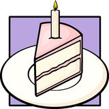 Birthday cake slice in dish with lighted candle Stock Photography