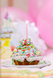 Birthday cake. Small birthday cake with a single candle royalty free stock photography