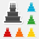Birthday cake sticker set Stock Image