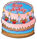 Birthday cake with strawberries Stock Photos