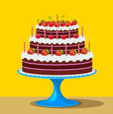 Birthday cake with strawberries and cherries Royalty Free Stock Images