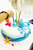 Birthday cake and sweets Royalty Free Stock Photos