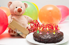 Birthday cake and teddy bear