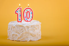 Birthday cake with ten on it in candles Stock Photo