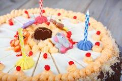 Birthday cake and three candles Royalty Free Stock Photo