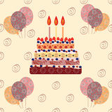 Birthday cake with three candles Royalty Free Stock Photography