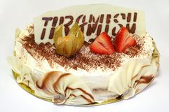 Birthday cake of Tiramisu Royalty Free Stock Image
