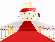 Birthday cake on the top. Eighteenth birthday cake on the red carpet isolated on white - rendering Royalty Free Stock Photos