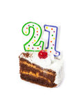 Birthday cake with two candles stock photography
