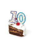 Birthday cake with two candles royalty free stock photography