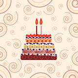 Birthday cake with two candles. Two years Royalty Free Stock Images