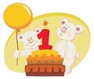 Birthday cake. Two teddy bears celebrating birthday Stock Images