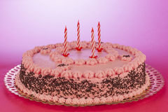 Birthday cake with unlit candles Royalty Free Stock Photography