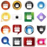 Birthday Cake Variety Icon Set. Birthday cake set isolated on a white background Royalty Free Stock Photos