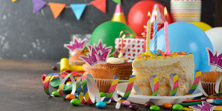 Birthday cake and various accessories for the holiday Stock Photo