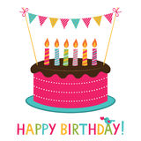 Birthday cake. Birthday vector card with a cake royalty free illustration