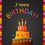 Birthday cake vector card with cake. Eps10 stock illustration