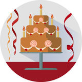 Birthday cake vector illustration in circle Stock Images